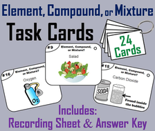 Elements Compounds Mixtures Task Cards