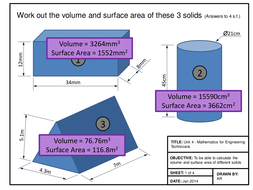 Maths for Engineers - Volume and Surface Area