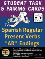 Spanish Task and Pairing Cards for Regular Present Verbs with AR Endings.   Verbos en Español
