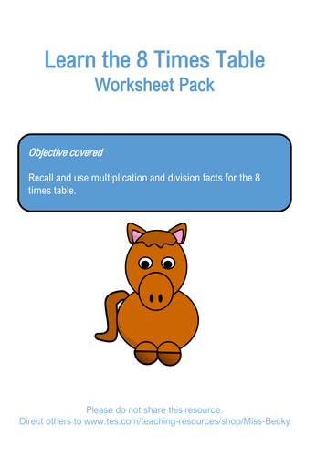 8 Times Table Worksheet Pack by Miss-Becky - Teaching Resources - Tes