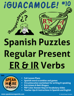 "Spanish Puzzles for Regular Present ""ER & IR"" Verbs. Juegos de los Verbos Regulares con ""ER & IR"""