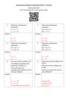 Simultaneous-Equations-Homework-Sheet-1---Answers.docx