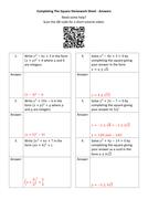 Completing-The-Square-Homework-Sheet---Answers.docx