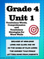 Grade 4 Unit 1 Reading Vocabulary Word Wall Words