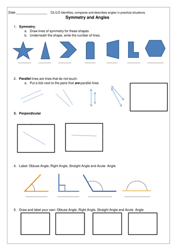 Angles and Symmetry worksheet