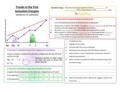 Trends in Ionisation Energy Worksheet by chemistryresourcesbank ...