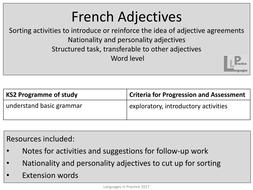 Ks2 french adjective agreement sorting activities nationality and ks2 french adjective agreement sorting activities nationality and personality adjectives platinumwayz