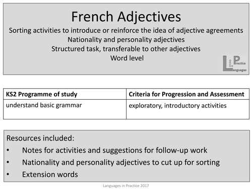 Ks2 french adjectives bundle by languagesinprimaries teaching ks2 french adjectives bundle by languagesinprimaries teaching resources tes platinumwayz