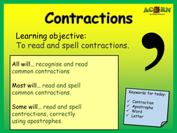 English - Contractions - Activities & Games