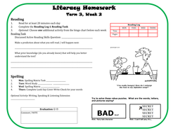 Literacy Homework 8wk Unit by lmtteacher | Teaching Resources