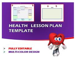 Lesson Plan Template- Health (Editable)