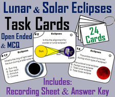 Lunar and Solar Eclipses Task Cards