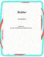 Blubber--Blume  Novel Unit with Literary and Grammar Activities