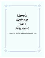Marvin Redpost Class President Novel Unit with Literary and Grammar Activities
