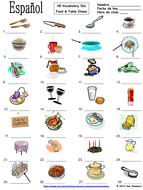Spanish Food Vocabulary / Table Vocabulary IDs - La Comida y la Mesa
