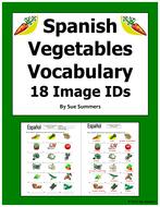 Spanish Food Vegetables 18 Image IDs - Los Vegetales