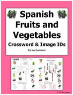 Spanish Food Fruits and Vegetables Crossword - La Comida, Las Frutas y Los Vegetales