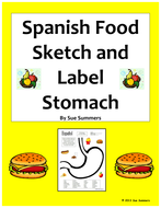 Spanish Food Sketch and Label Full Stomach Vocabulary Activity - La Comida
