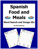 Spanish Food and Meals Word Search Puzzle, Vocabulary, and Image IDs - La Comida