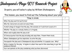 Shakespeare primary homework help
