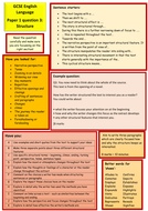 AQA GCSE Language paper 1 help sheets