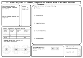 AQA Chemistry 9-1 - Revision Mats/Grids for Unit 1-3 Differentiated for Foundation Tier