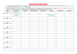 blank revision timetable template - revision timetable by itlec1 teaching resources tes