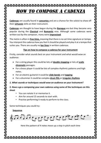 How to Compose a Cadenza