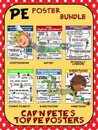 PE Poster Bundle: Cap'n Pete's Top Physical Education Posters- 12 PE Posters