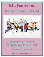 Restaurants and Fast Food 3 Photo Worksheet Set