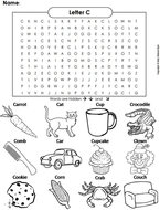 The Letter C Word Search