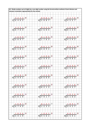 Division Worksheets » Short Division Worksheets Pdf - Preschool ...
