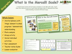 Geography - Natural Hazards - Earthquakes - Mercalli Scale drawing activity