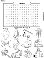 The Letter I Word Search