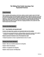 The Walking Dead Zombie Apocalypse Task - Exponential Functions by ...