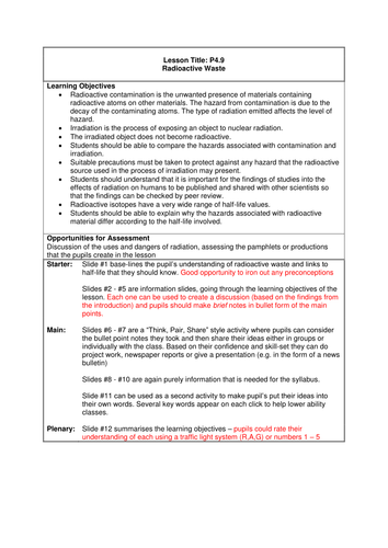 GCSE Science / Physics - Radioactive Waste (PowerPoint and Lesson Plan)