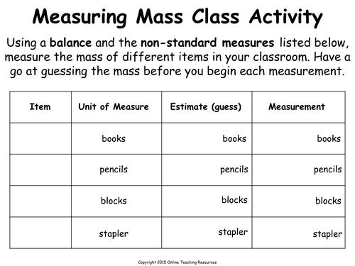 Measuring Mass Using NonStandard Units by TeacherofPrimary – Nonstandard Measurement Worksheet