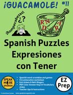 Spanish Tener Expressions Puzzles and Games. Rompecabezas para Expresiones del Verbo Tener