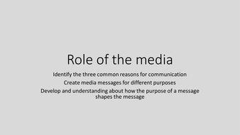 The Media - Role of the media Citizenship KS3 lesson
