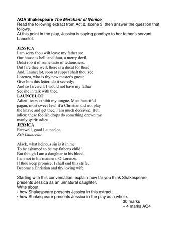 aqa the merchant of venice extracts questions by walbere aqa the merchant of venice 15 extracts questions by walbere teaching resources tes