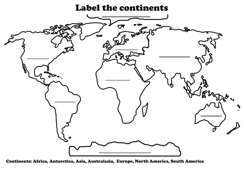Label the continents by samrutland teaching resources tes gumiabroncs Images
