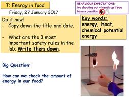 Energy in food (burning food practical) KS3 or KS4 by