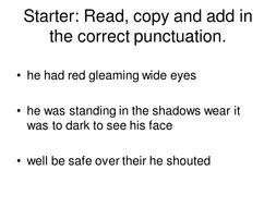 Gothic Creative Writing KS3