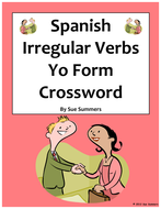 Spanish Irregular Yo Form Verbs Crossword and Image IDs Worksheet