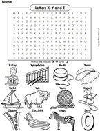 The Letters X Y and Z Word Search