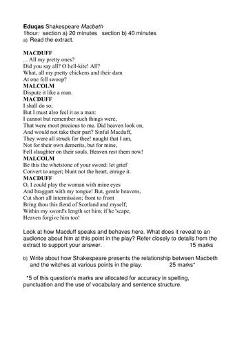 Macbeth literary essay