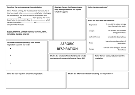Respiration Worksheet Ks3 - Geotwitter Kids Activities