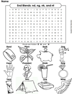 Ending Sounds Word Search: nd, ng, nk, and nt (End Blends)