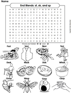 Ending Sounds Word Search: st, sk, and sp (End Blends)