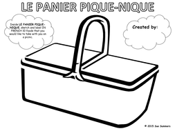 French Food Picnic Basket Sketch and Label - Panier Pique-nique